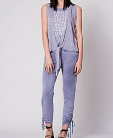 Mineral Washed Tie Front Peace, Love, Unity Graphic Tank