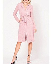 Long Sleeve Faux Suede Self Tie Trench Coat