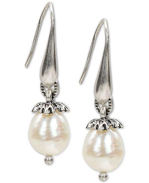 Patricia Nash Silver-Tone Floret Cap & Freshwater Pearl (10mm) Drop Earrings