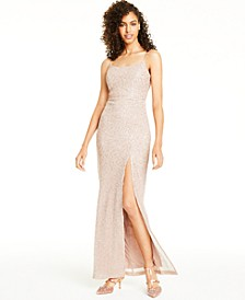 Juniors' Sequined Slit Gown