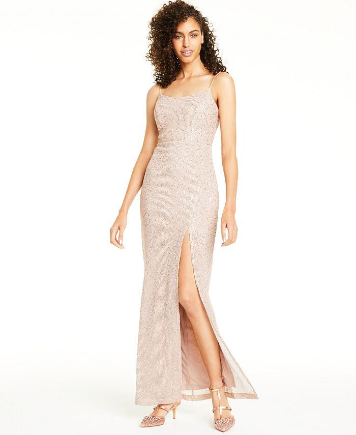 Teeze Me - Juniors' Sequined Slit Gown