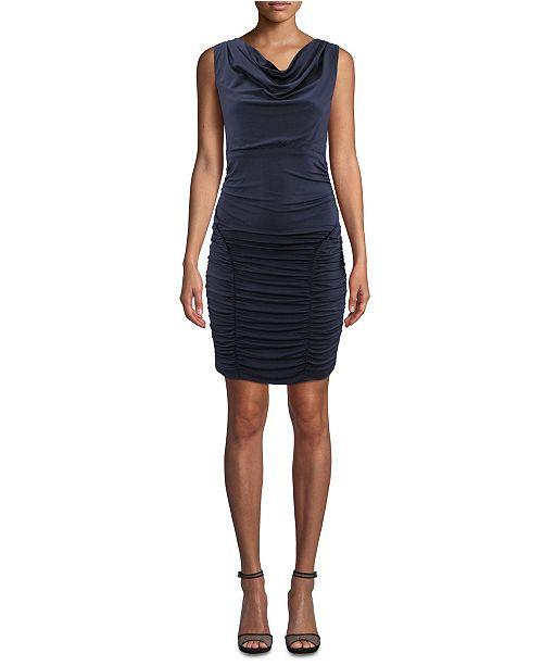 Nicole Miller Ruched Cowlneck Dress