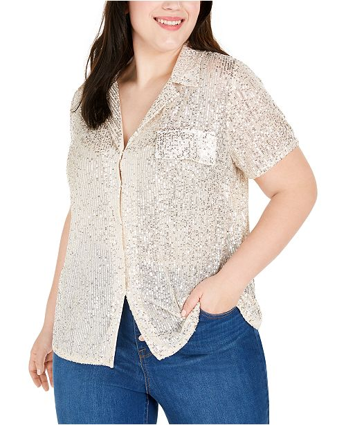 INC International Concepts INC Plus Size Sequined Blouse, Created for Macy's
