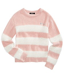 Big Girls Striped Eyelash Sweater