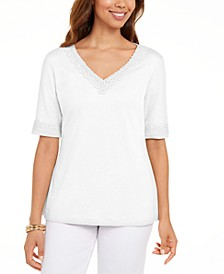 Cotton Crochet-Trim Top, Created for Macy's