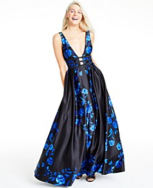 Juniors' Laddered Rose-Print Gown