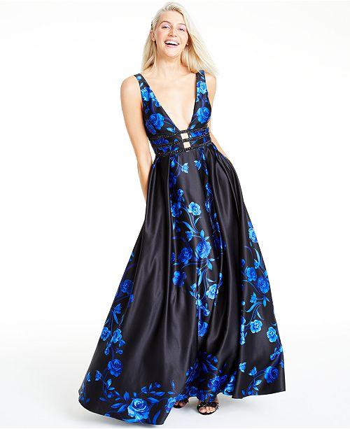 Blondie Nites Juniors' Laddered Rose-Print Gown