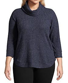 Plus Size Cowlneck Rib-Knit Top