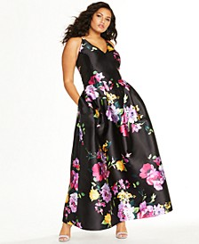 Trendy Plus Size Floral-Print Plunge Gown
