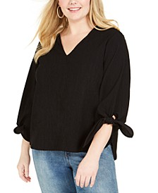 Plus Size Tie-Cuff Textured Top