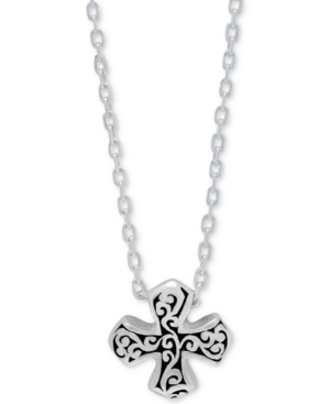 Filigree Maltese Cross Pendant Necklace in Sterling Silver