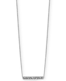 "Filigree Bar Pendant Necklace in Sterling Silver, 18"" + 2"" extender"