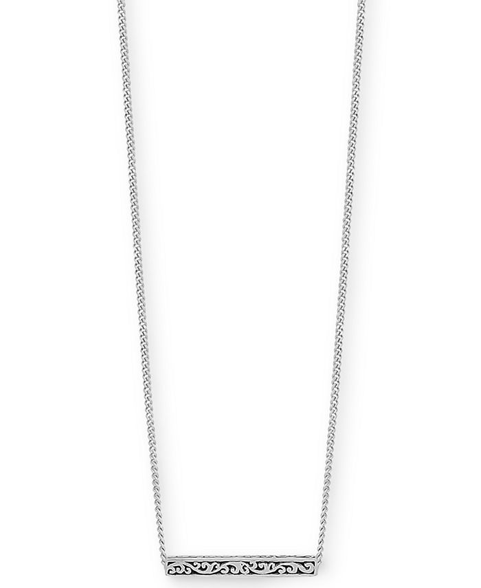 """Lois Hill - Filigree Bar Pendant Necklace in Sterling Silver, 18"""" + 2"""" extender"""