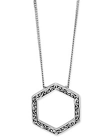 """Filigree Hexagon Pendant Necklace in Sterling Silver, 16"""" + 2"""" extender"""