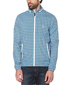Men's Tattersall Check Water-Resistant Windbreaker with Zip-Out Hood