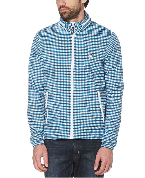 Original Penguin Men's Tattersall Check Water-Resistant Windbreaker with Zip-Out Hood
