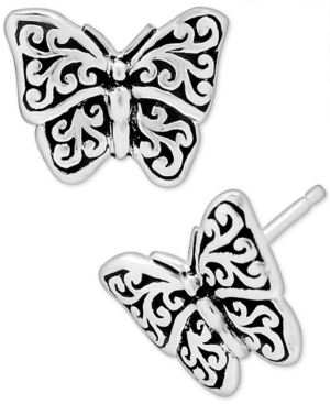 Filigree Butterfly Stud Earrings in Sterling Silver