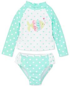 Baby Girls 2-Pc. Dot-Print Fish Rash Guard Swimsuit