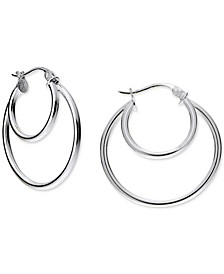 "Small Double Hoop Earrings in Sterling Silver, 1"", Created For Macy's"