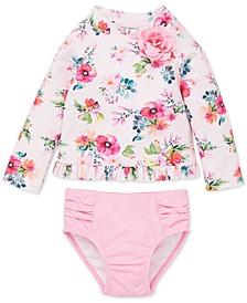 Baby Girls 2-Pc. Floral-Print Rash Guard Swimsuit