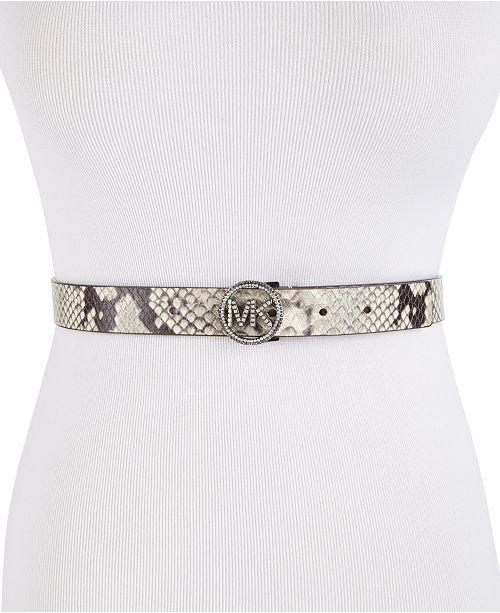 Michael Kors Skinny Snake-Embossed Pavé-Logo Belt