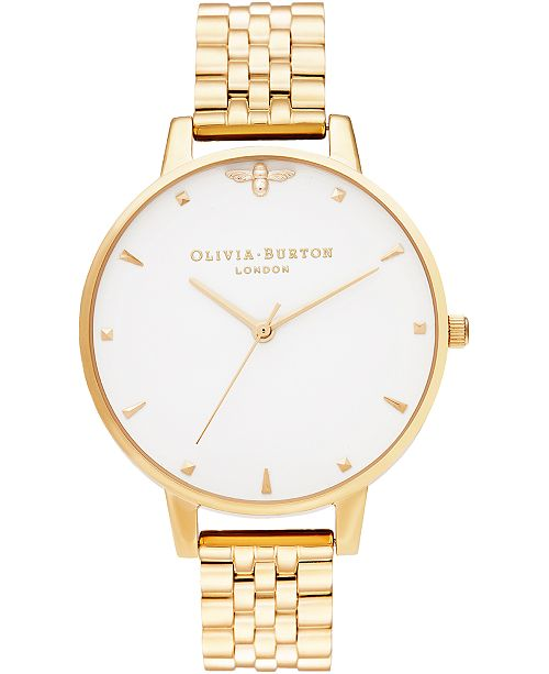 Olivia Burton Women's Queen Bee Gold-Tone Stainless Steel Bracelet Watch 38mm