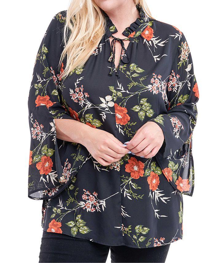 Fever - Plus Size Floral-Print Tie-Neck Tunic