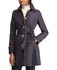 Faux-Leather Trim Trench Coat