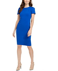 Petite Short-Sleeve Sheath Dress