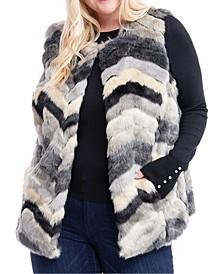 Plus Size Multcolored Faux-Fur Vest
