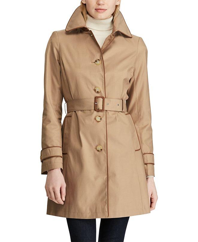 Lauren Ralph Lauren Faux-Leather Trim Trench Coat