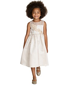 Little Girls Metallic Floral Appliqué Dress