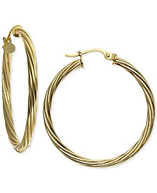 "Medium Twisted Hoop Earrings in 18k Gold-Plated Sterling Silver, 1.2"", Created For Macy's"
