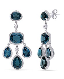 Blue Topaz (55 ct. t.w.) and Diamond (1 7/8 ct. t.w.) Geometric Dangle Earrings in 18k White Gold