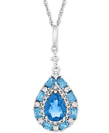 "Blue Topaz (1-1/2 ct. t.w.) & White Topaz (1/6 ct. t.w.) 18"" Pendant Necklace in Sterling Silver"