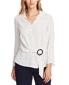 Ditsy Fragments Belted Blouse