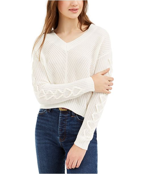 Almost Famous Juniors' Lace-Up Sweater