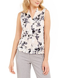 Petite Floral-Print Split-Neck Top