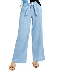 INC Wide-Leg Chambray Pants, Created for Macy's