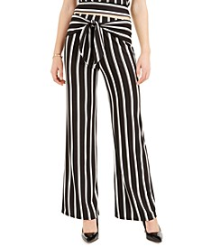 Juniors' Striped Tie-Front Pants