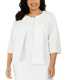 Plus Size Ribbed Metallic Flyaway Jacket