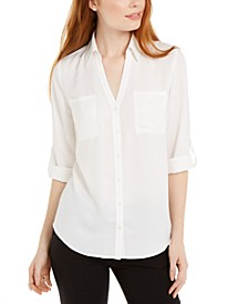 Juniors' Collared Button-Front Shirt