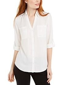 Juniors' Collared Button-Front Shirt