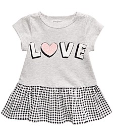 Baby Girls Love Peplum T-Shirt, Created For Macy's