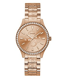 Women's Rose Gold-Tone Crystal Logo Watch, 38mm