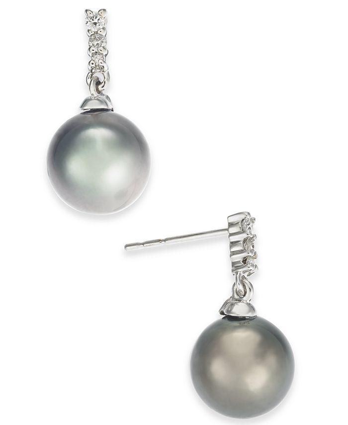 Macy's - Cultured Tahitian Pearl (8mm) & Diamond (1/10 ct. t.w.) Drop Earrings in 14k White Gold