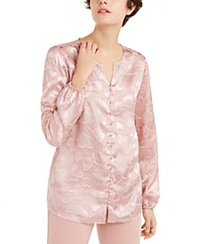 Heart-Print Faux-Pearl Button Blouse, Created for Macy's