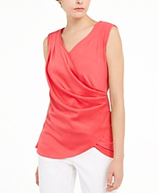 Textured Satin Wrap Top, Created For Macy's