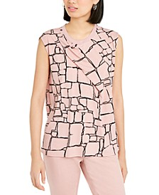 Printed Pleat-Front Sleeveless Top, Created For Macy's