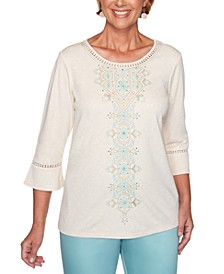 Cottage Charm Embroidered Bell Sleeve Top